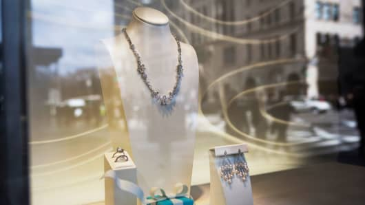 Jewelry is displayed in the window of a Tiffany & Co. store on Fifth Avenue in New York.