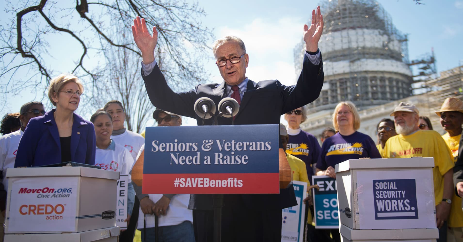 Sens. Elizabeth Warren, D-Mass., left, Charles Schumer, D-N.Y., and Tammy Baldwin, D-Wis., conduct a rally on the east lawn of the Capitol to urge Mitch McConnell, R-Ky., to hold a vote on the 'Seniors and Veterans Emergency Benefits Act,' March 9, 2016. The legislation would provide a one time payment to seniors, veterans and other SSI recipients who will not get a cost-of-living adjustment this year.
