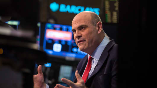Peter Hancock, chief executive officer of American International Group, speaks during an interview on the floor of the New York Stock Exchange.