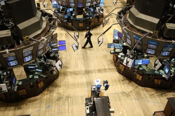 The floor of the New York Stock Exchange sits empty after the close of the final trading session in New York.