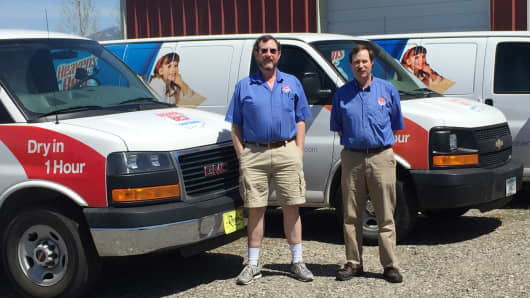(Left to right) Donald and Steve Loessberg of Heaven's Best Carpet Cleaning. Donald was running a sheetrocking business in 1998 when his brother, Jim, presented him with the idea to run a franchise.