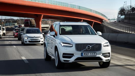 A Volvo XC90 Drive Me test vehicle