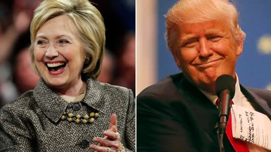 Democratic presidential candidate former Secretary of State Hillary Clinton and Republican presidential candidate Donald Trump.