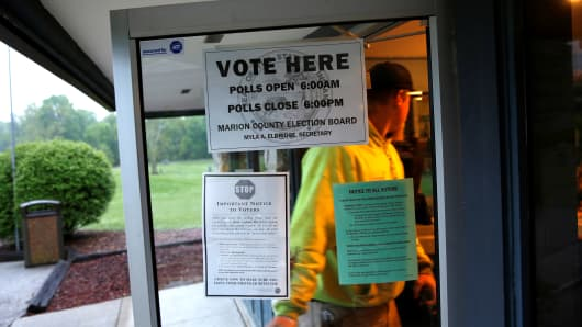 Voters go to the polls in Indianapolis, Indiana.