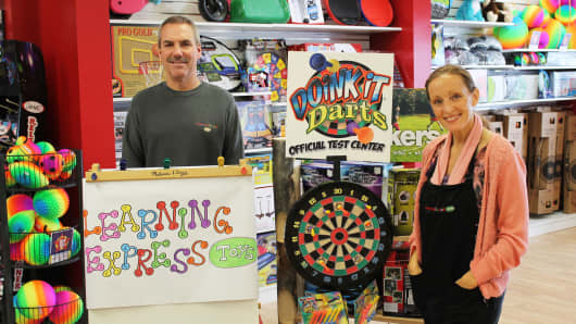 Todd and Connie Jacob, owners of three Learning Express Toys franchises in Ohio.