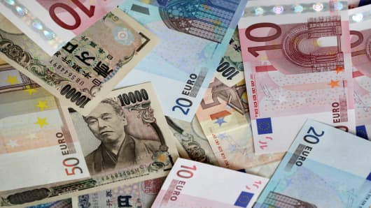 Euro Yen banknotes
