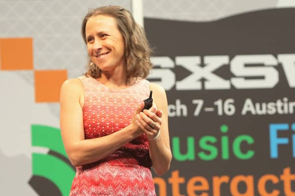 Anne Wojcicki speaking at a SXSW event.
