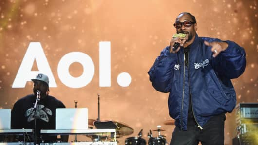 Snoop Dogg performs onstage at AOL NewFront 2016 in NYC's Seaport District on May 3, 2016.