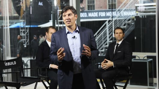 CEO of AOL Tim Armstrong speaks at the AOL NewFront 2016 at Seaport District NYC on May 3, 2016 in New York City.
