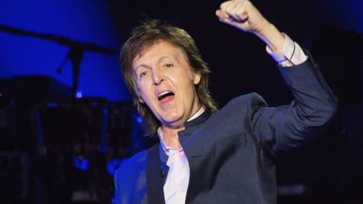Paul McCartney performing.