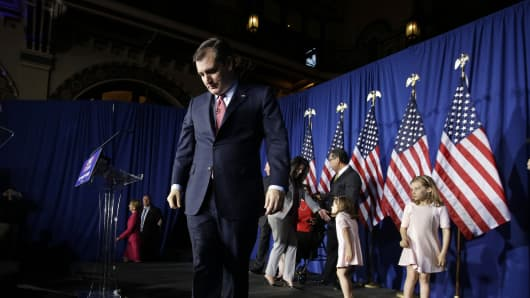 Republican presidential candidate, Sen. Ted Cruz, R-Texas, walks off the stage following a primary night campaign event, Tuesday, May 3, 2016, in Indianapolis.