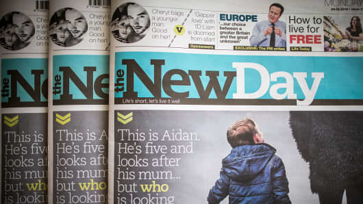 In this photo illustration a copy of the first edition of the New Day newspaper is displayed on February 29, 2016 in Bristol, England.