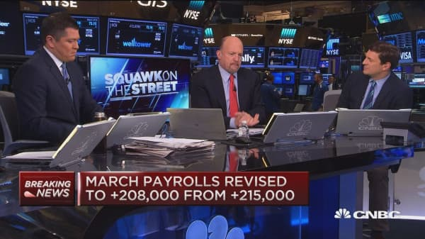 April Jobless rate up 5.0%, Cramer reacts