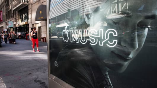 An advertisement for Apple Music on the streets of New York.