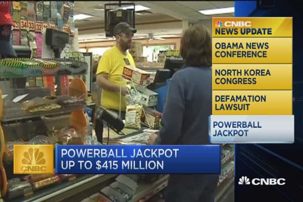 CNBC update: Powerball jackpot up to $415M