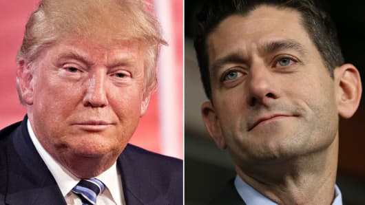 Republican presidential candidate Donald Trump (l) and Speaker of the House Paul Ryan (r).