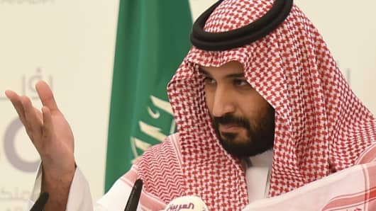 Mohammed bin Salman gestures during a press conference in Riyadh, on April 25, 2016