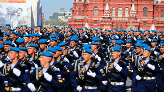 Ceremonial unit soldiers attend the Victory Day parade.