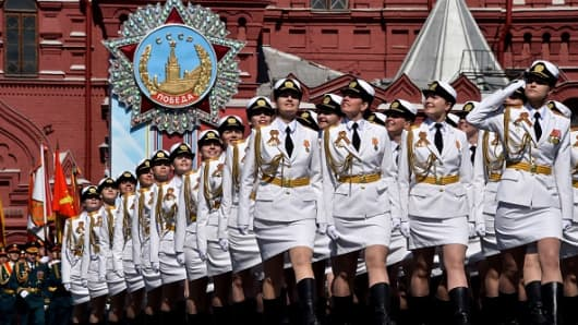 Russian servicewomen during the Victory Day military parade in Moscow on May 9, 2016.