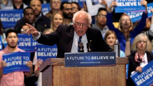 Democratic presidential candidate Bernie Sanders addresses the crowd during a campaign rally at Heritage Hall in Lexington, Kentucky, U.S. May 4, 2016.