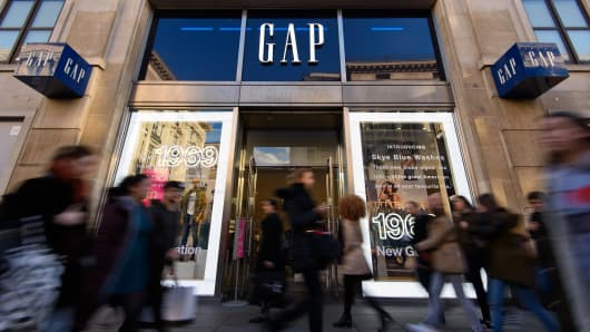 An exterior view of fashion retailer Gap's Oxford Street store on February 11, 2016 in London.