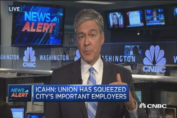 Icahn: Union has squeezed city's important employers