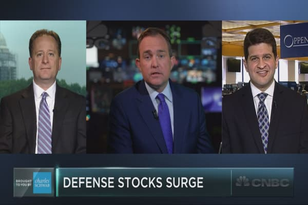 Defense stocks fire on all cylinders