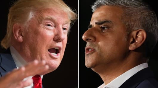 Donald Trump (l) and London Mayor Sadiq Khan (r).