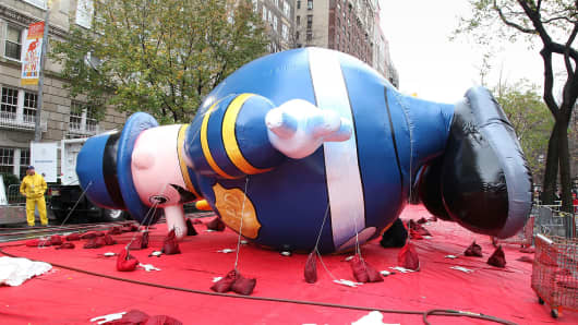 A balloon from the Macy's Thanksgiving Day Parade in New York.