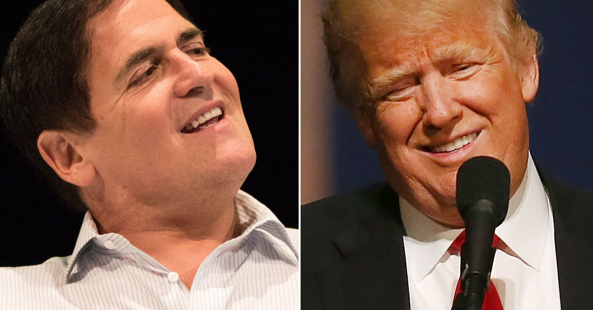 Marc Cuban (l) and Donald Trump (r).