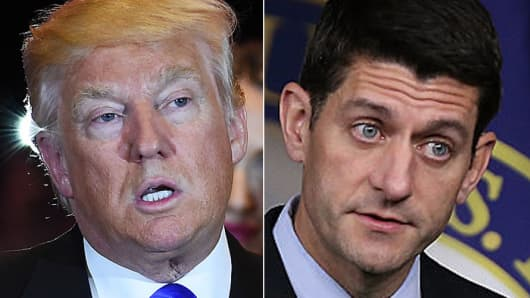 Donald Trump, Republican presidential candidate and Paul Ryan, Speaker of the House