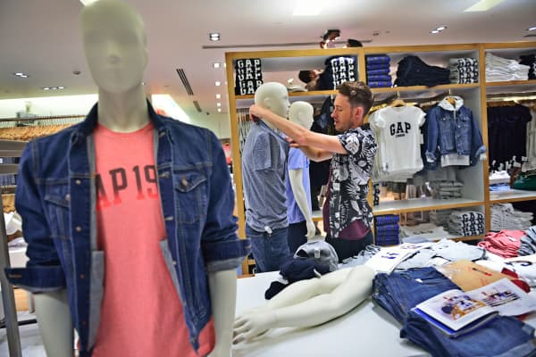 A Gap store's work in progress as it's going to open soon in Select Citywalk on May 27, 2015 in New Delhi, India.
