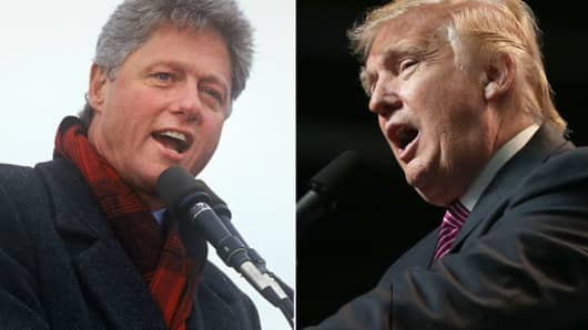 Bill Clinton campaigning in 1992 and Donald Trump.