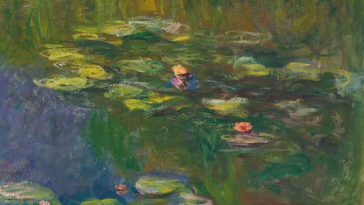 Detail from Le bassin aux nymphéas by Claude Monet