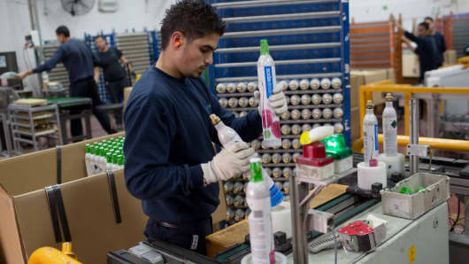 A Palestinian labourer works at the Israeli SodaStream factory in the Mishor Adumim industrial park, next to the West Bank settlement of Maale Adumim.