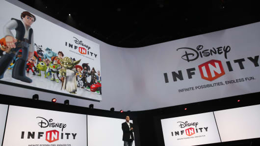 John Vignocchi, vice president of production at Disney Interactive Studios, speaks about the Disney Infinity 3.0 video game during a Sony Corp. event ahead of the E3 Electronic Entertainment Expo in Los Angeles, California, U.S., on Monday, June 15, 2015.