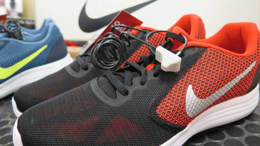 Nike running shoes on sale at Kohl's store in Jersey City, NJ, retail, shopping