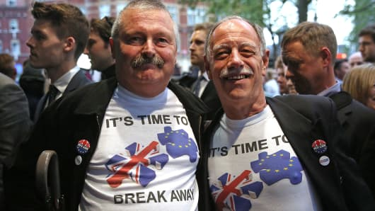 "Guests wearing pro-Brexit t-shirts arrive for the premiere of ""Brexit: The Movie"" in London."