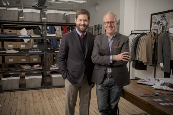 Jeff Hansen and Peter Manning, co-founders of the Peter Manning fashion line, produce clothing for shorter men.