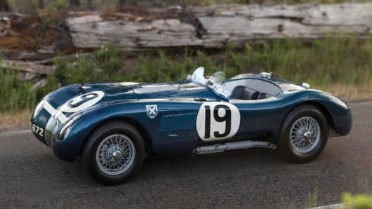 The Jaguar C-Type, which won the 24 Hours of Le Mans twice for Coventry during the company's domination of the event in the 1950s. The C-Type began life as the famed XK120 roadster, which had taken the world by storm in 1948 with its revolutionary dual overhead-cam engine.