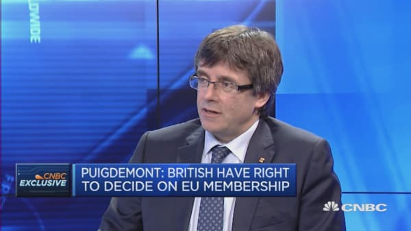 UK has a right to vote on membership: Catalonia president