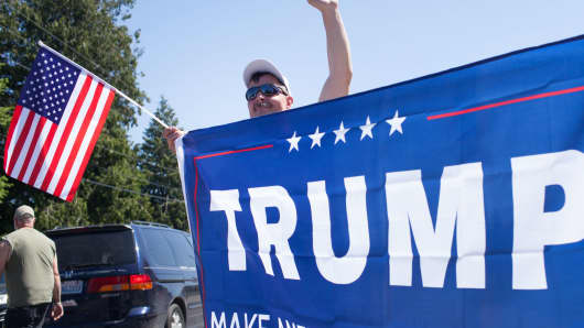 Supporters gather prior to a Donald Trump rally at the The Northwest Washington Fair and Event Center on May 7, 2016 in Lynden, Washington.