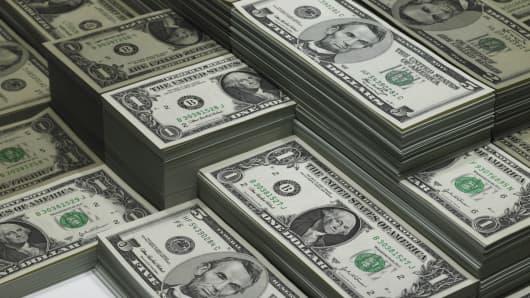 Stacks of cash, dollars USD