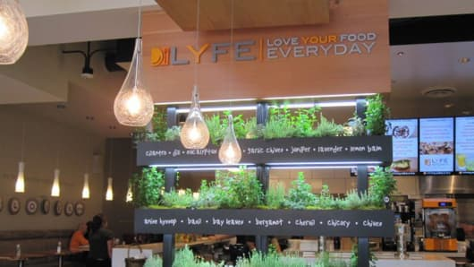 LYFE Kitchen's iconic herb wall comes to life in the Tarzana restaurant.