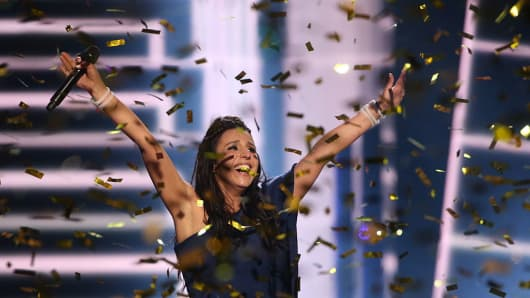 Singer Jamala representing Ukraine celebrates winning the 2016 Eurovision Song Contest.