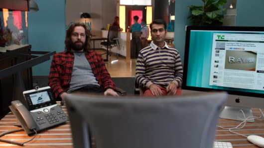 """The chair shall remain empty"". A scene from Season 3, episode 4 on Silicon Valley."