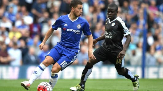 Eden Hazard of Chelsea is closed down by N'Golo Kante of Leicester City during a Barclays Premier League match at Stamford Bridge on May 15, 2016 in London.
