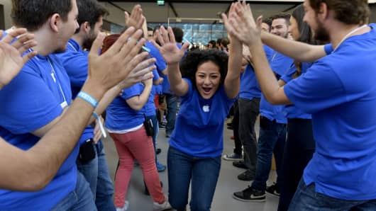 Apple store workers celebrating in Istanbul, Turkey.
