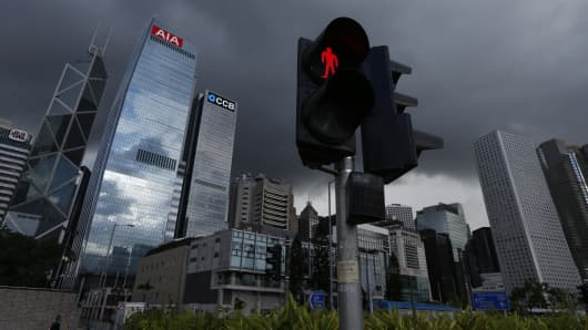 A traffic light is seen at the financial Central district in Hong Kong.