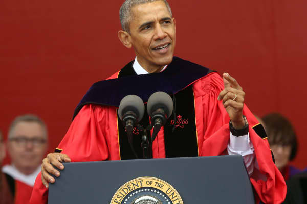 President Barack Obama speaking at Rutgers graduation